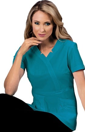 Sapphire Scrubs™ Women's Madison Mock Wrap Solid Scrub Top