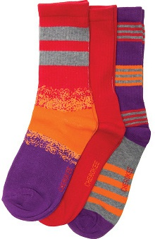 Footwear by Cherokee Women's Sunfire Assorted Crew Sock 3 Pair