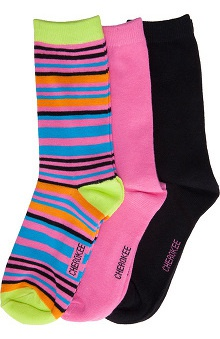Footwear by Cherokee Women's Sweet Pink Crew Socks-3 Pair