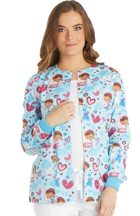 Tooniforms by Cherokee Women's Snap Front Doc McStuffins Print Warm-Up Jacket