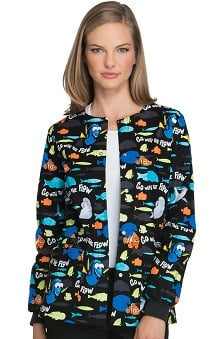 Tooniforms by Cherokee Women's Snap Front Finding Nemo Print Warm-Up Scrub Jacket