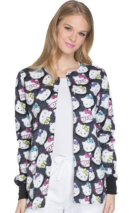 Tooniforms by Cherokee Women's Snap Front Hello Kitty Print Scrub Jacket