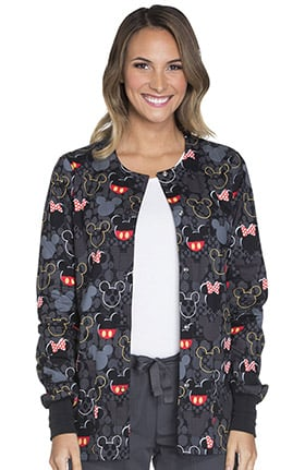 Tooniforms by Cherokee Women's Snap Front Mickey Mouse Print Scrub Jacket