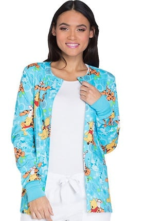 Tooniforms by Cherokee Women's Snap Front Winnie the Pooh Print Scrub Jacket