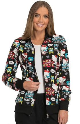 Tooniforms by Cherokee Women's Zip Front Warm-Up Hello Kitty Print Scrub Jacket