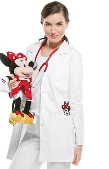 "Tooniforms By Cherokee Women's 32"" Minnie Mouse Embroidered Lab Coat"