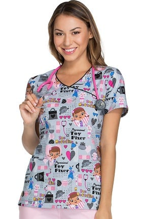 Tooniforms by Cherokee Women's Mock Wrap Toy Fixer Print Scrub Top