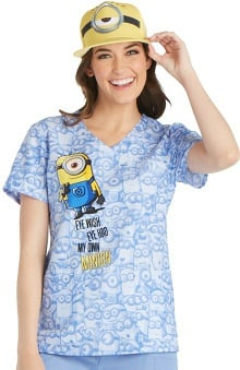 Tooniforms by Cherokee Women's Mock Wrap Minion Print Scrub Top