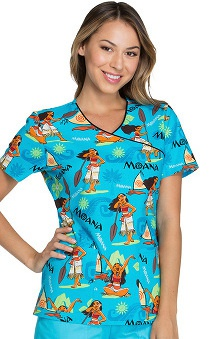 Tooniforms by Cherokee Women's Mock Wrap Moana Print Scrub Top