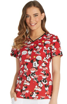 Tooniforms by Cherokee Women's V-Neck Minnie Mouse Print Scrub Top