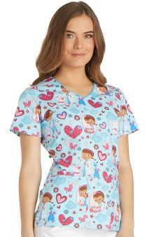 Clearance Tooniforms by Cherokee Women's V-Neck Doc McStuffins Print Scrub Top