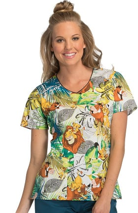 Tooniforms by Cherokee Women's V-Neck Lion King Print Scrub Top