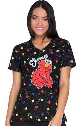 Tooniforms by Cherokee Women's V-Neck Sesame Street Print Scrub Top