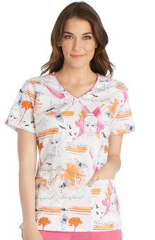 Tooniforms by Cherokee Women's V-Neck Tinker Bell Print Scrub Top