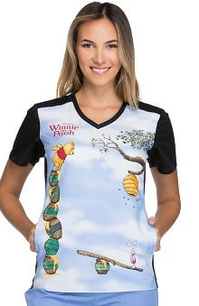 Tooniforms by Cherokee Women's V-Neck Knit Panel Winnie the Pooh Print Scrub Top