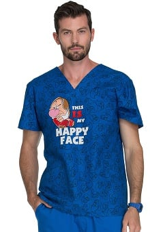 Tooniforms by Cherokee Men's V-Neck Grumpy Print Scrub Top