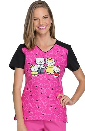 Tooniforms by Cherokee Women's V-Neck Hello Kitty Print Scrub Top