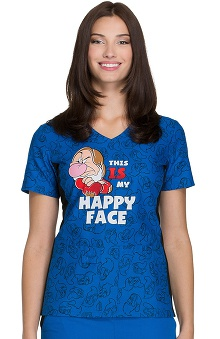 Tooniforms by Cherokee Women's V-Neck Grumpy Print Scrub Top