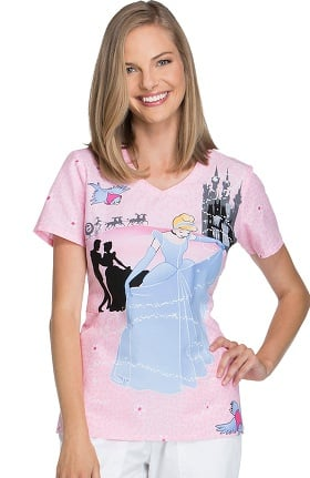 Tooniforms by Cherokee Women's V-Neck Cinderella Print Scrub Top