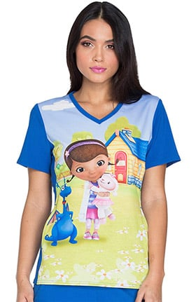 Tooniforms by Cherokee Women's V-Neck Knit Panel Doc McStuffins Print Scrub Top