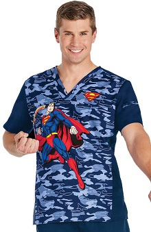 Tooniforms by Cherokee Men's V-Neck Superman Print Scrub Top