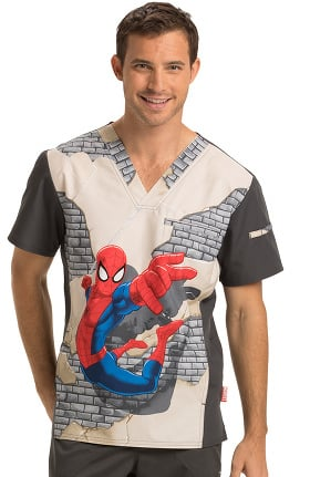 Tooniforms by Cherokee Men's V-Neck Spiderman Print Scrub Top
