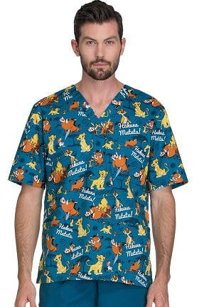 Tooniforms by Cherokee Unisex V-Neck Lion King Print Scrub Top
