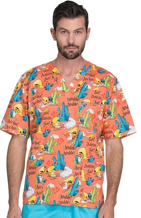 Tooniforms by Cherokee Unisex V-Neck Speedy Gonzales Print Scrub Top