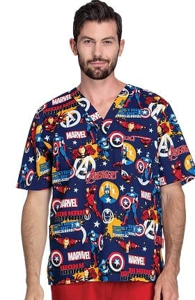 Tooniforms by Cherokee Unisex V-Neck Marvel Print Scrub Top
