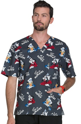 Tooniforms by Cherokee Unisex V-Neck Donald Duck Print Scrub Top