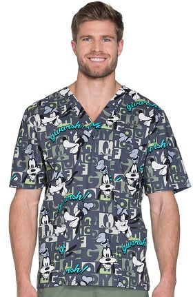 Tooniforms by Cherokee Unisex V-Neck Goofy Print Scrub Top