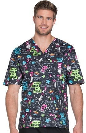 Tooniforms by Cherokee Unisex V-Neck Dr. Seuss Print Scrub Top