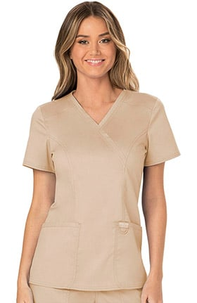 Revolution by Cherokee Workwear Women's Mock Wrap Solid Scrub Top