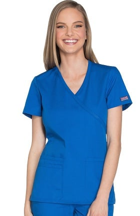 Cherokee Workwear Originals Women's Mock Wrap Knit Panel Solid Scrub Top