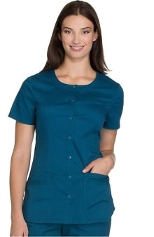 Core Stretch by Cherokee Workwear Women's Round Neck Solid Scrub Top
