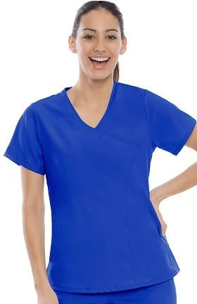 Performance Stretch by crush Women's Active Fitted Mock Wrap Solid Scrub Top