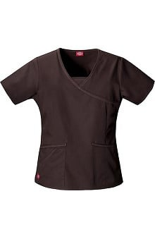 Clearance Hip Flip by Dickies Women's 3-Pocket Mock Wrap Solid Scrub Top