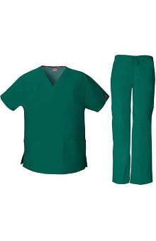 Everyday Scrubs Signature by Dickies Women's V-Neck Top & Drawstring Pant Scrub Set