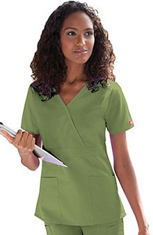 Clearance Everyday Scrubs by Dickies Women's Empire Mock Wrap Solid Scrub Top