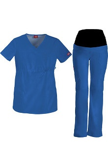 Gen Flex by Dickies Women's Maternity Scrub Top & Scrub Pant Set