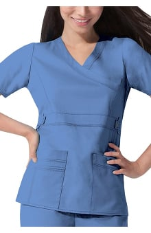 XXS: Gen Flex by Dickies Womens Junior Mock Wrap Solid Scrub Top