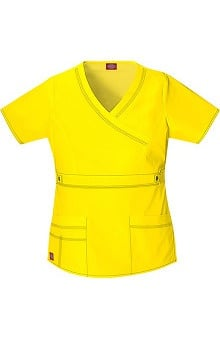 Clearance Gen Flex by Dickies Women's Junior Mock Wrap Solid Scrub Top