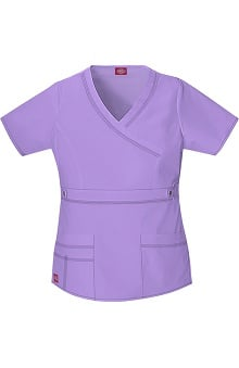 Clearance Gen Flex by Dickies Women's Mock Wrap Solid Scrub Top