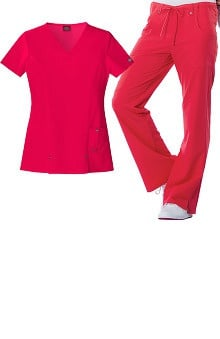 Evolution NXT by Dickies Women's V-Neck Scrub Top &Amp; Flare Leg Scrub Pant Set
