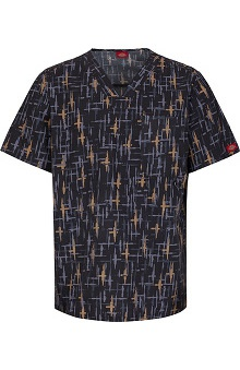 Gen Flex by  Dickies Men's V-Neck Line Print Scrub Top