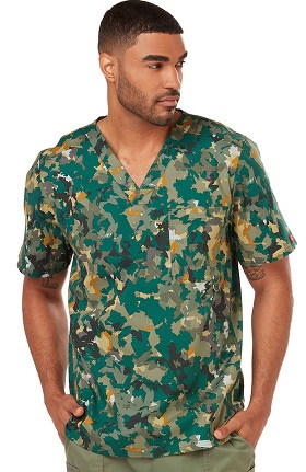Gen Flex by Dickies Men's V-Neck Camo Print Scrub Top