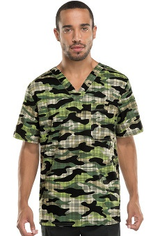 Gen Flex by Dickies Men's V-Neck Camo Plaid Print Scrub Top
