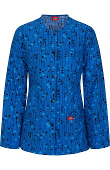 Gen Flex by  Dickies Women's Crew Neck Warm Up Line Print Scrub Jacket