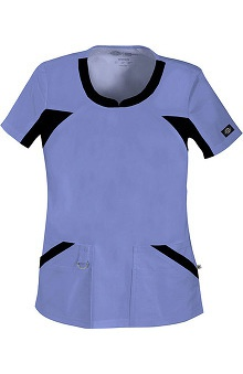 Clearance Gen Flex by Dickies Women's V-Neck Knit Panel Solid Scrub Top