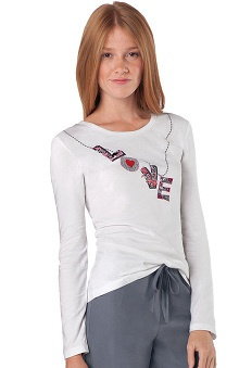 Clearance Dickies Everyday Scrubs Women's Crew Neck White Graphic Print Long Sleeve Tee